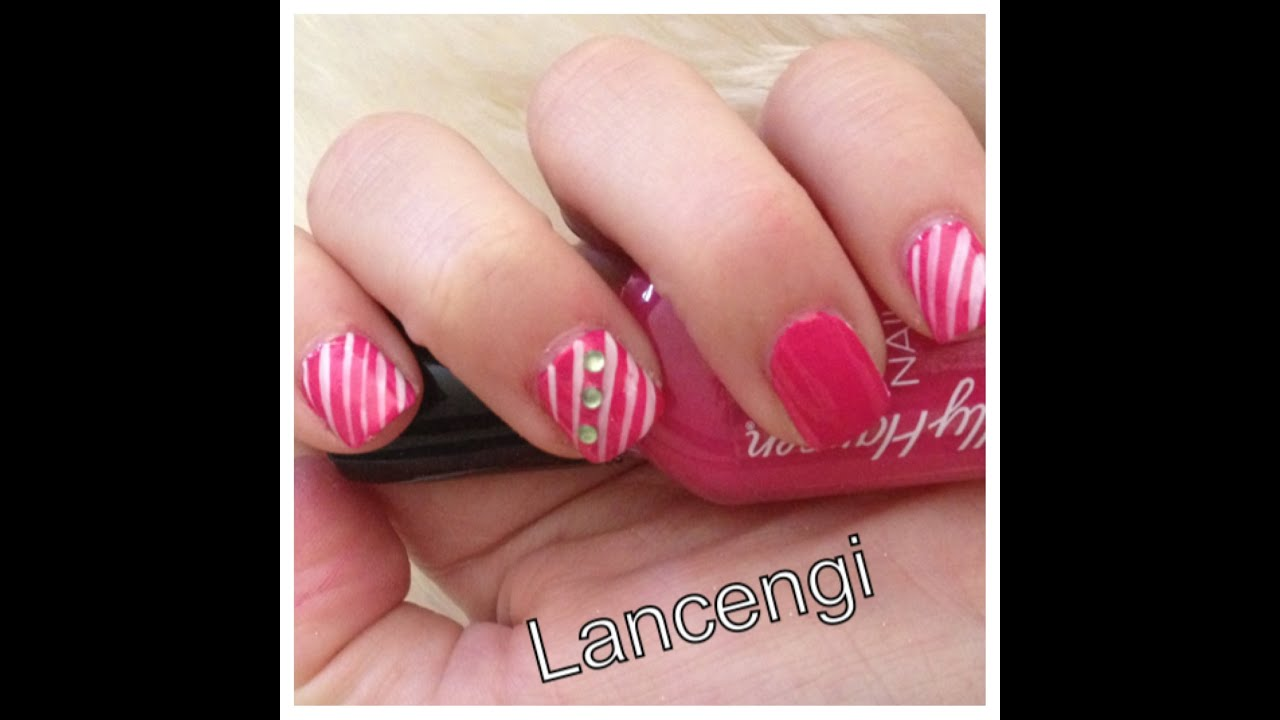 Easy Nail Art for Beginners - Strips Valentines Day Nail Art Design ...