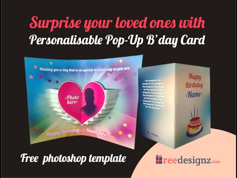 Pop up Birthday Card with free photoshop template