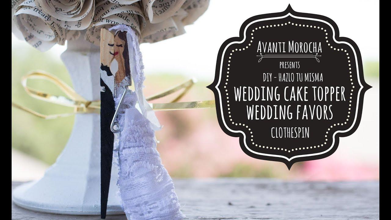Clothespin Wedding Cake Toppers