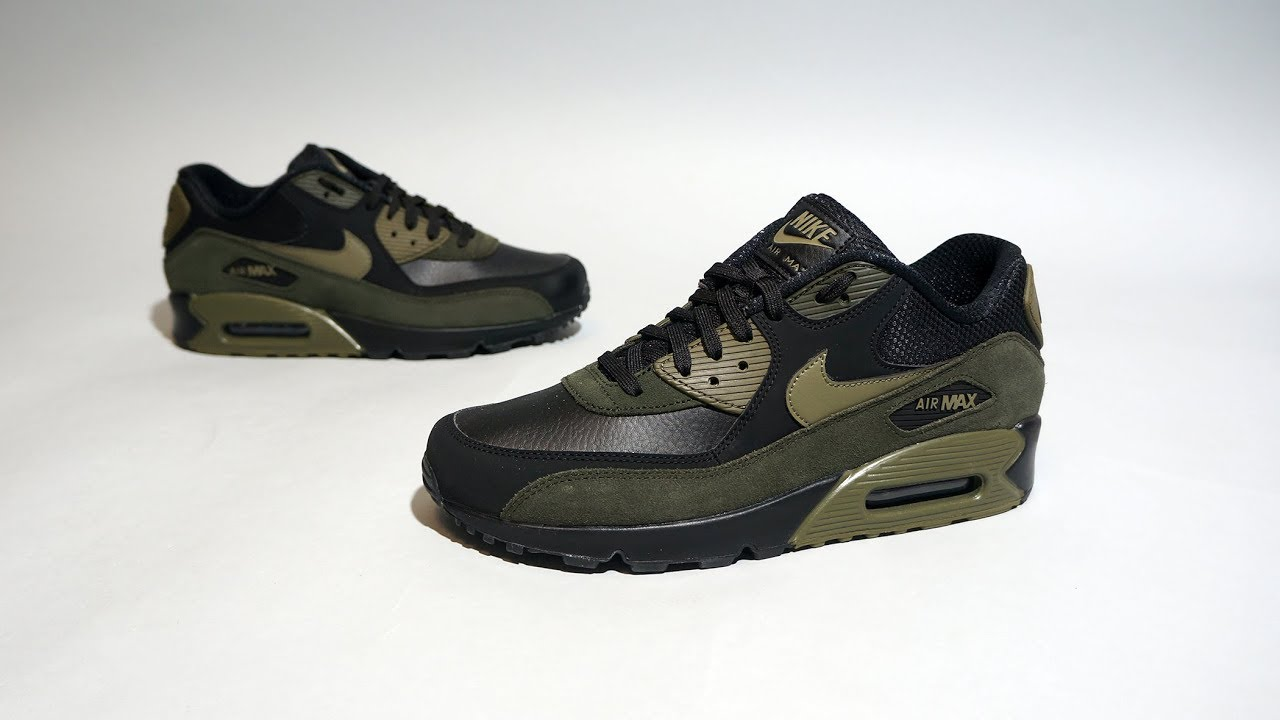 Nike Air Max 90 Leather Black Sequoia Olive