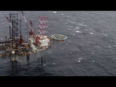Helicopter Flight Round the Ensco 102 North Sea