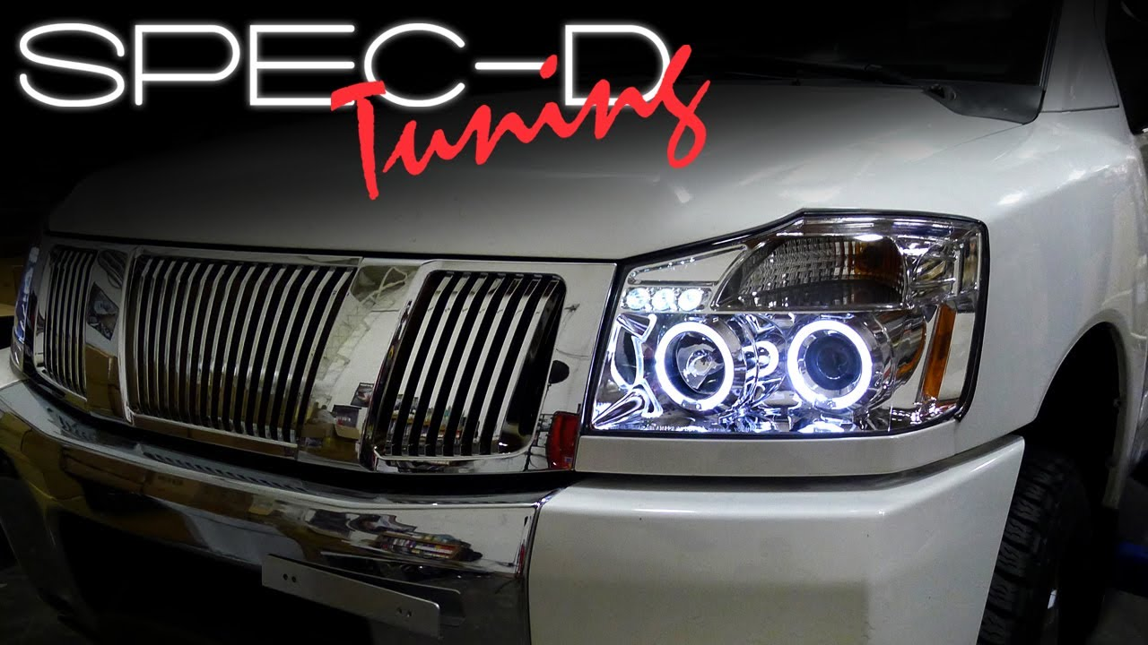 specdtuning installation video 2004 2007 nissan titan projector headlights [ 1280 x 720 Pixel ]