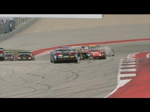 Pirelli World Challenge (SprintX GTS) 2018. Race 1 Circuit of the Americas. Restart Crash