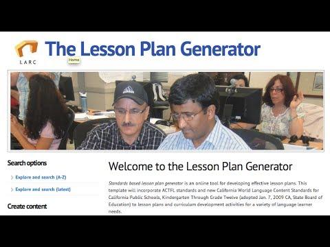Tutorial The Lesson Plan Generator (LPG) - YouTube