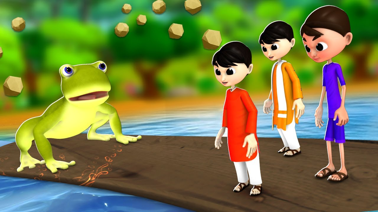 शैतान लड़के और मेंढक - Funny Kids and Frogs Story   3D Animated Hindi Moral Stories   JOJOTV Hindi