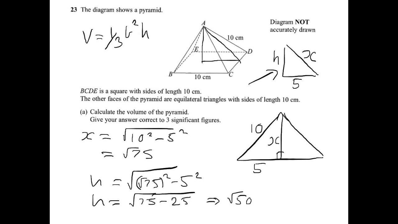 Q23 Square Based Pyramid Volume Cosine