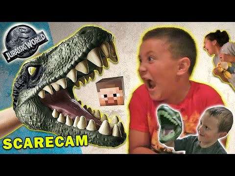 Thumbnail: Jurassic World Scare Cam + Minecraft & Box Stair Cam (FUNnel Vision Velociraptor Fun)