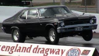 1970 Chevy Nova drag race, 10.28 @ 129 mph, mod 942, New England Dragway 10/21/12