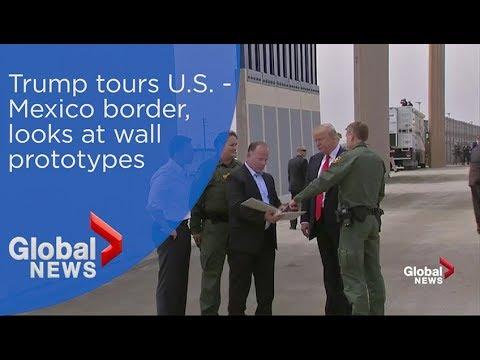 President Trump tours U.S.-Mexico border, looks at border wall prototypes