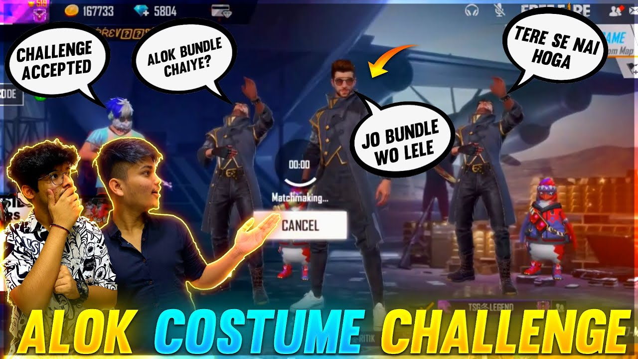 FREE FIRE || ALOK COSTUME CHALLENGE WITH TSG STONER & TSG LEGEND || FUN RANK MATCH - Who Won ?
