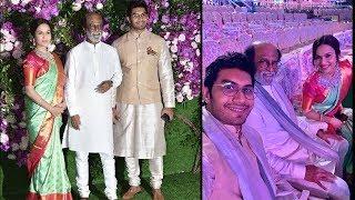 Soundarya Rajinikanth with Husband and Dad At Ambani son Akash Ambani Reception In Mumbai