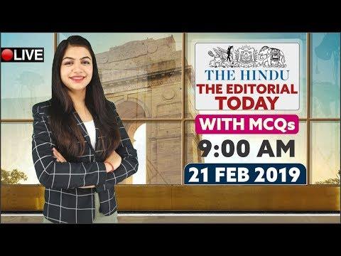 The Hindu Editorial Today   21th February 2019   Editorial By RITU Ma'am   9 A.M