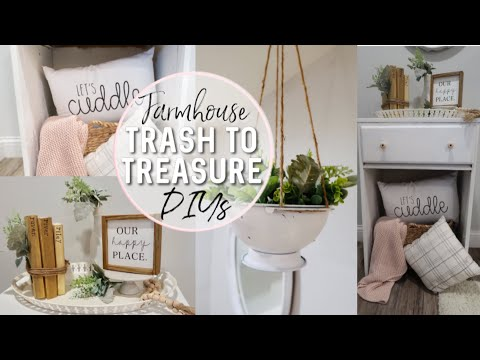 FARMHOUSE RECYCLE TRASH TO TREASURE DIYS | FARMHOUSE LIVING ROOM DECORATE WITH ME | RUSTIC DECOR DIY