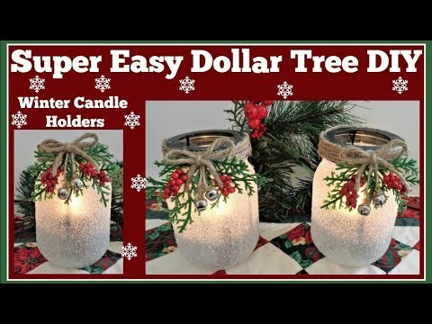Winter Candle Holder Easy Dollar Tree DIY Sparkling