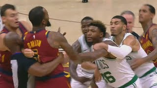 JR Smith Shoves Aron Baynes Then Marcus Smart Wanna Fight! Celtics vs Cavaliers