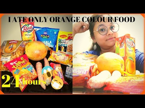 I ATE ONLY ORANGE COLOUR FOOD FOR 24 HOURS | FOOD CHALLENGE