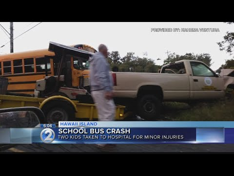 Two girls injured after state vehicle hits school bus