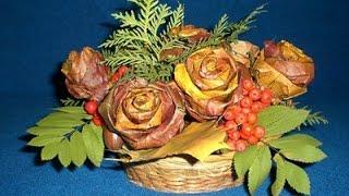 Осенняя поделка. Роза из кленовых листьев.