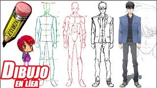 Como dibujar un chico tipo manga (de frente explicado)