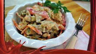 Праздничный салат с языком,грибами и овощами по-корейски.