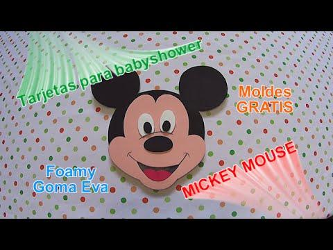 Cómo hacer tarjetas para baby shower Mickey Mouse en foamy goma ...