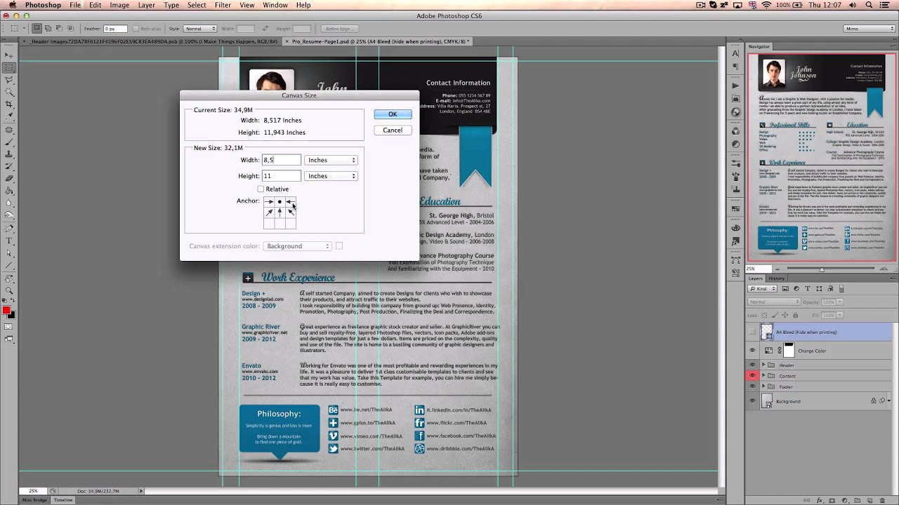 Convert A4 to US letter in Photoshop - Professional Resume by The ...