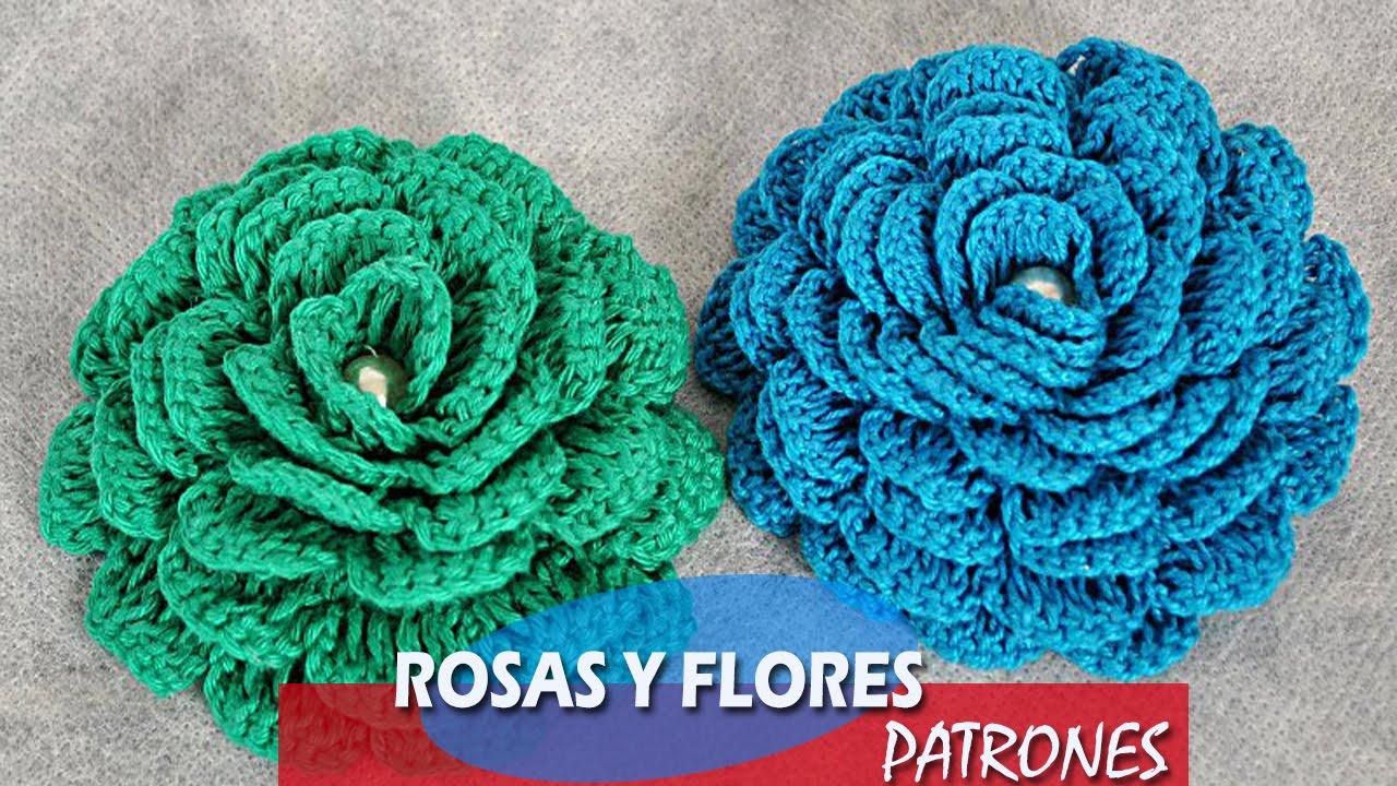 FLOR Y ROSAS A CROCHET- PATRONES - YouTube