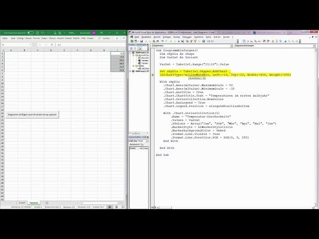 168. Excel-VBA: Diagramme über ein Makro einfügen und mit Daten bestücken
