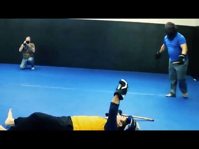 AMAZING! Spinning Heel Kick KO in Full Contact Stick Fighting Match!