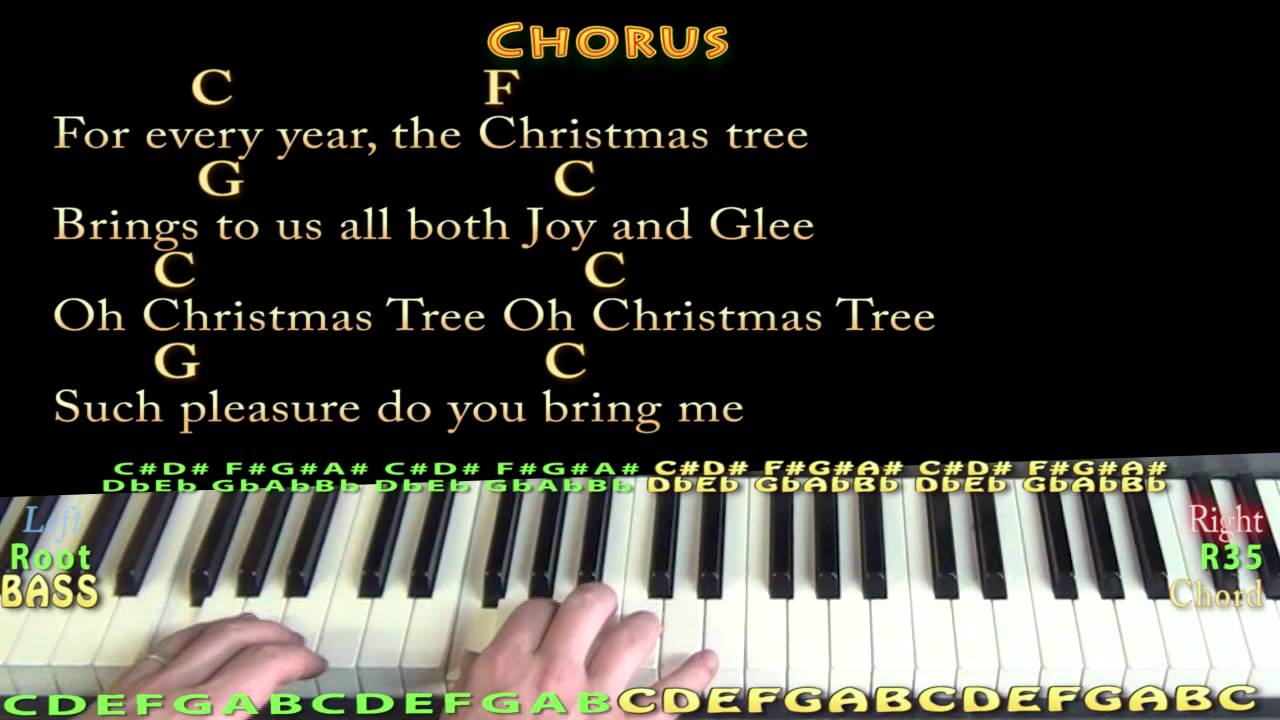 O Christmas Tree - Piano Cover Lesson in C with Lyrics/Chords - YouTube
