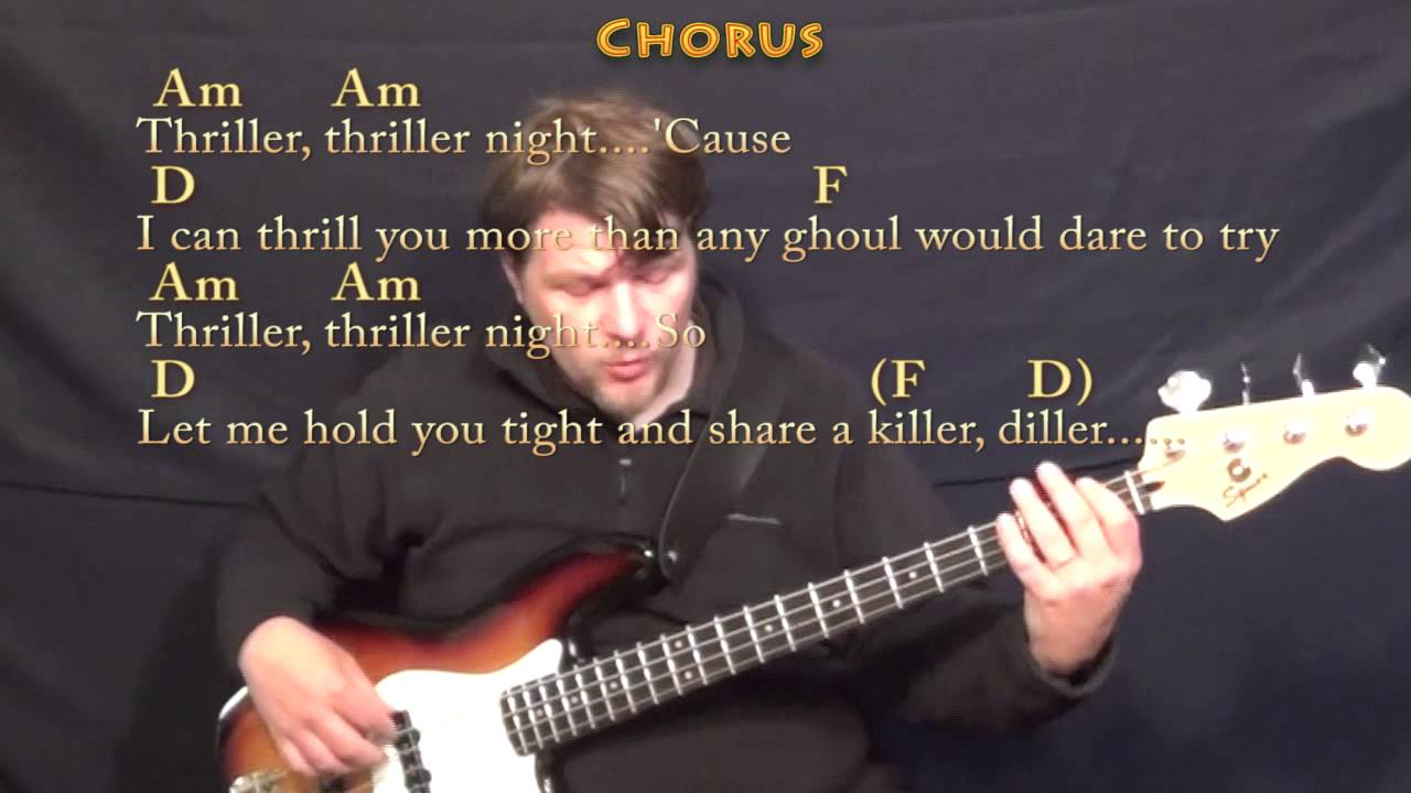 Thriller Michael Jackson Bass Guitar Cover Lesson In Am With