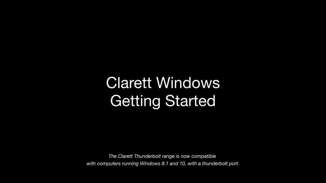 Clarett Thunderbolt Windows || Getting Started – Focusrite