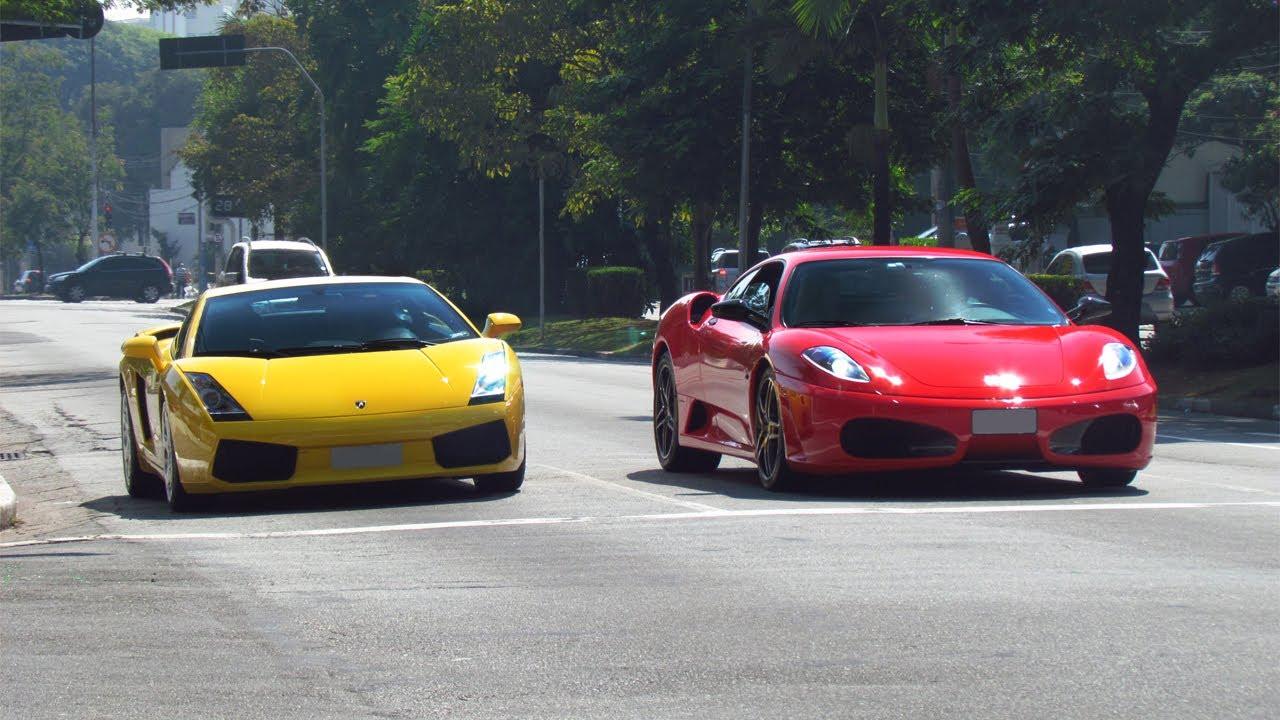 Lamborghini Gallardo Ferrari F430 Acelerando Tudo Youtube