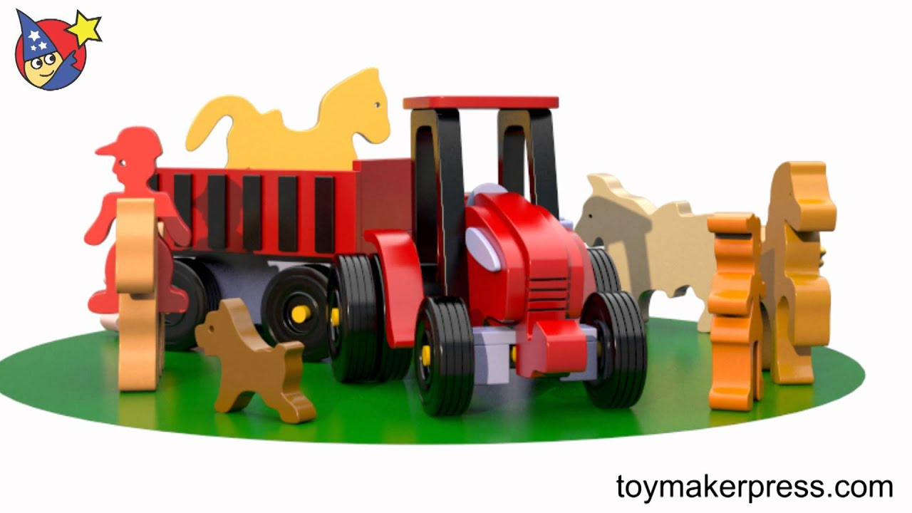 Wood Toy Plans - Quick & Easy Wood Toy Tractor Farm Set - YouTube