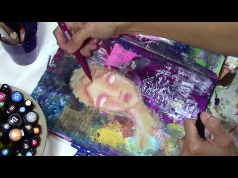 """Intuitive Painted Woman in my Art Journal - """"Laney Love"""""""