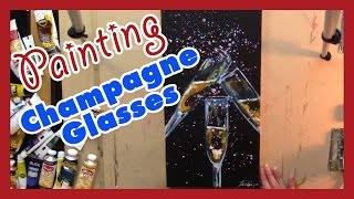 Painting Champagne Glasses for New Years in Acrylic Paint
