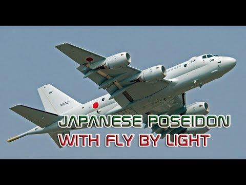 """Kawasaki's P-1 Japanese """"Poseidon"""" with Fly by Light"""