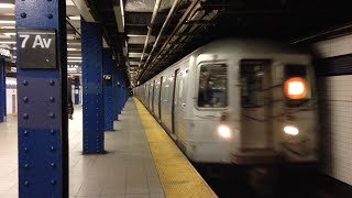 New York, New York - D Train Arrives at the 7th Avenue Station HD (2016)