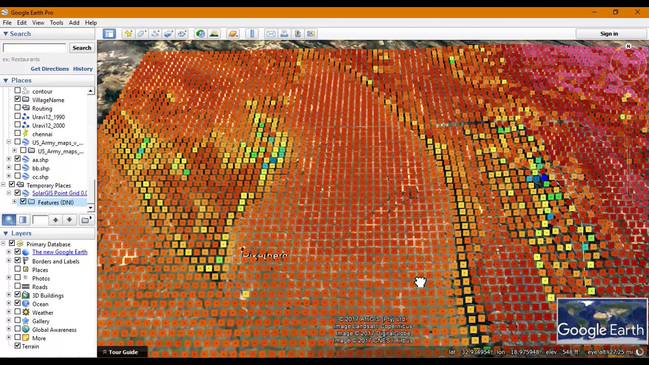 Visualize Temperature Map in Google Earth using SolarGIS