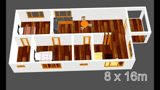 Small And Modern House Plan 8 X 16m 2 Bedroom With American Kitchen 2019