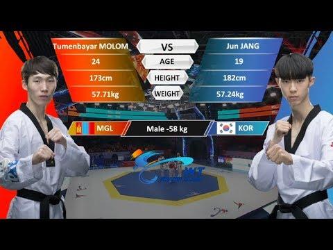 M-58kg| Jun Jang (KOR)  VS  Tumenbayar Molom (MGL) | 2017-2018 Season WT Grand Slam Finals