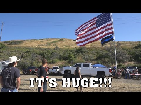 WORLDS LARGEST Truck Mounted AMERICAN Flag!