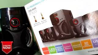 Zebronics ZEB-BT4440RUCF 4.1 MULTIMEDIA SPEAKERS Unboxing and review