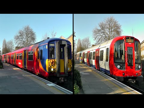 SWT + District Line Trains @ Southfields Station