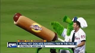 Fan struck by flying hot dog during baseball game