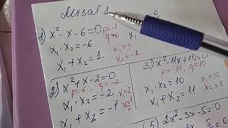Viyet teoremi 8 sinif riyaziyyat dərslik səh misal 1