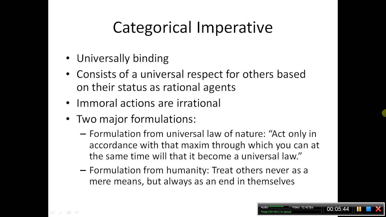 the hypothetical and categorical imperatives essay This imperative is not hypothetical for it does not describe conditions to fulfill an end rather it is a categorical imperative describing what we ought to do regardless of the outcome of the action.