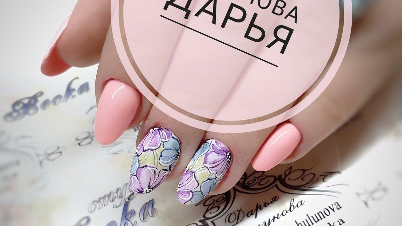 Простой и быстрый дизайн ногтей. Акварельные цветы. Цветы на ногтях