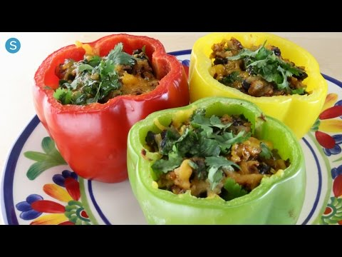 Black Bean And Corn Cheesy Stuffed Bell Peppers | Simplemost