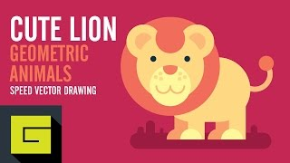 Speed Drawing Flat Animals, Cute Lion, Geometric Animals, Adobe Illustrator